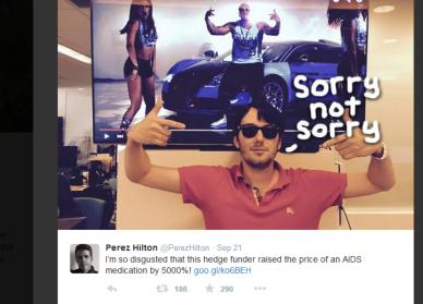 Perez Hilton misfornøyd